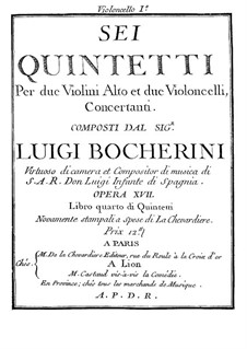 Six Quintets for Strings, G.283-288 Op.18: Cello I parts by Luigi Boccherini