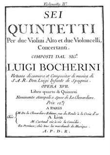 Six Quintets for Strings, G.283-288 Op.18: Cello II parts by Luigi Boccherini