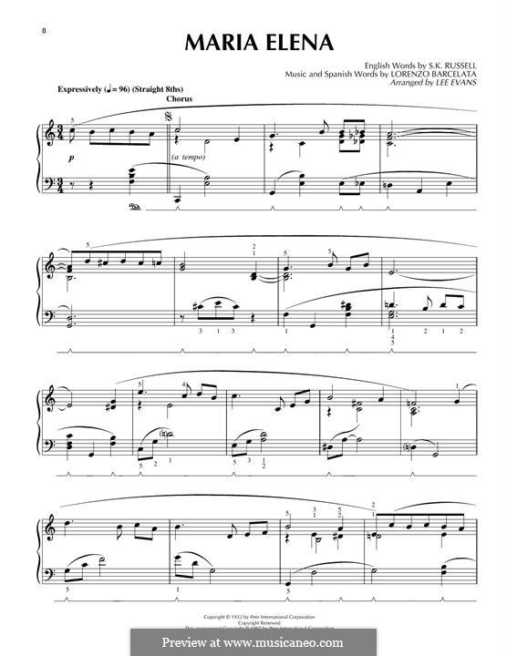 Maria Elena: For piano by Lorenzo Barcelata