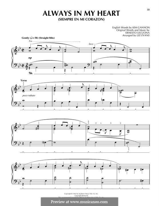 Always in My Heart (Siempre en mi Corazon): For piano by Ernesto Lecuona, Kim Gannon
