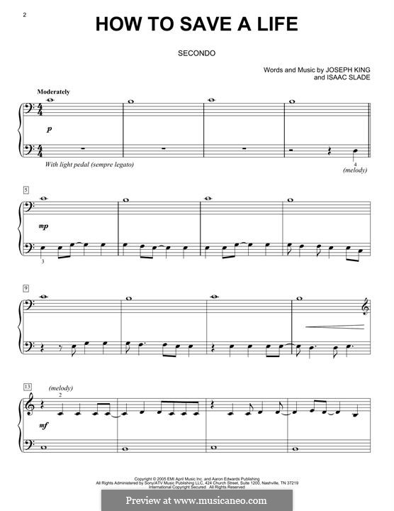 How to Save a Life (The Fray): For piano by Isaac Slade, Joseph King