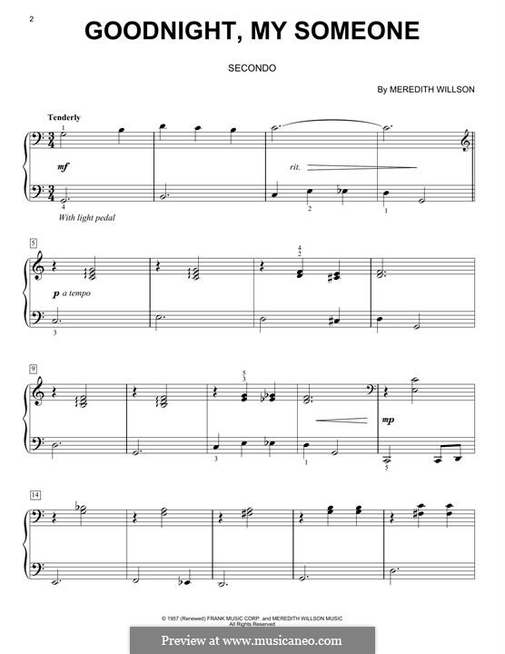 Goodnight, My Someone: For piano by Meredith Willson