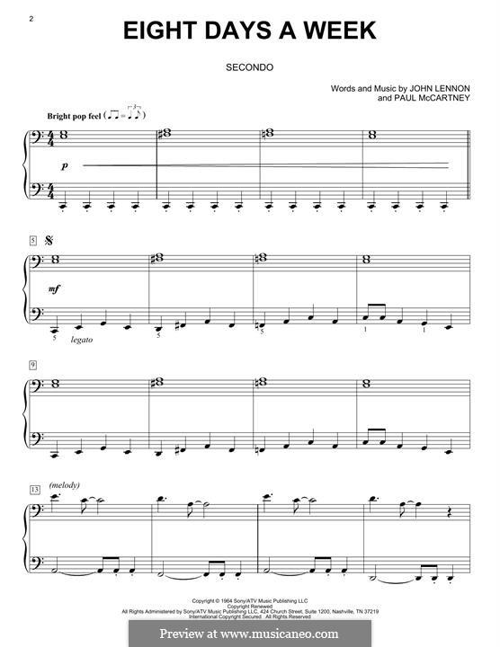 Eight Days a Week (The Beatles): For piano by John Lennon, Paul McCartney