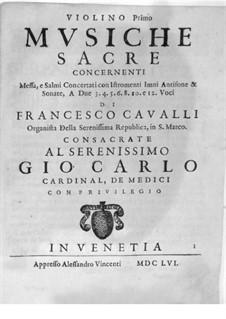 Musiche Sacre concernenti: Violin I part by Pietro Francesco Cavalli