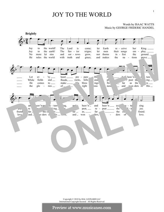 Joy to the World (Printable Scores): For flute by Georg Friedrich Händel