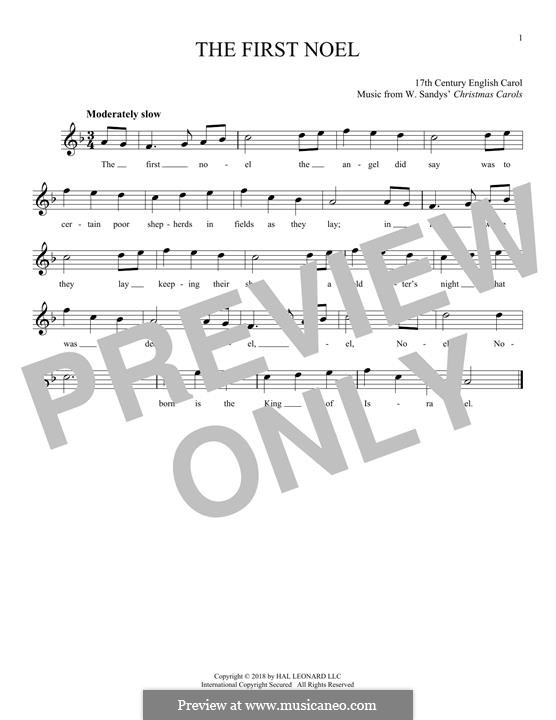 The First Nowell (The First Noël), Printable scores: For flute by folklore