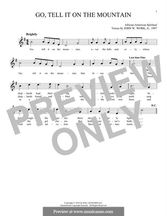 Go, Tell it on the Mountain (Printable Scores): For flute by folklore