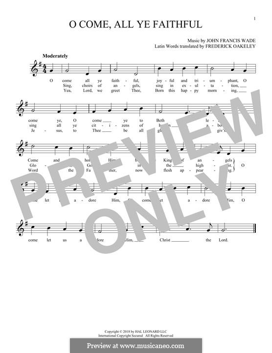 O Come, All Ye Faithful (Printable Scores): For flute by John Francis Wade