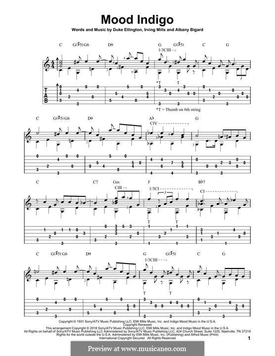 Mood Indigo: For guitar by Irving Mills, Albany Bigard, Duke Ellington