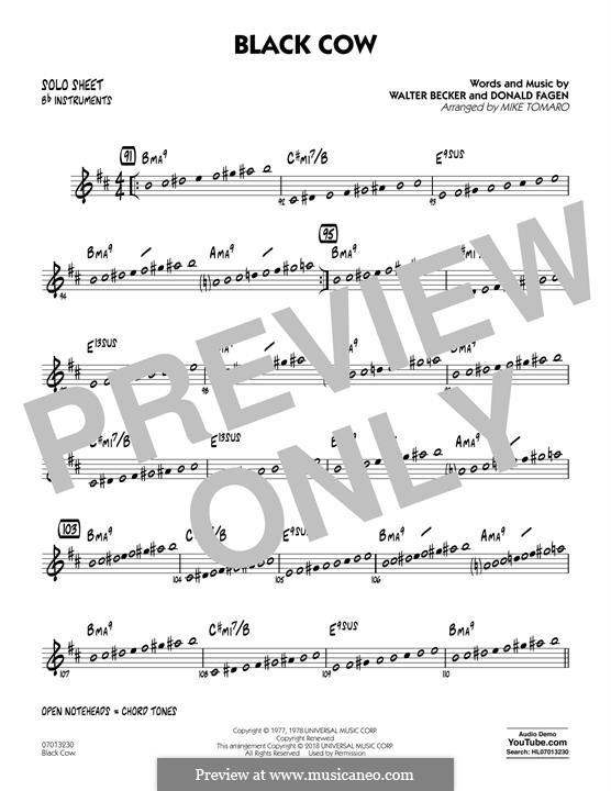 Black Cow (Steely Dan): Bb Solo Sheet part by Donald Fagen, Walter Becker