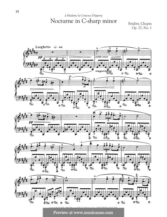 Nocturnes, Op.27: No.1 in C Sharp Minor by Frédéric Chopin