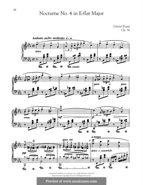 Nocturne for Piano No.4 in E Flat Major, Op.36: For a single performer by Gabriel Fauré