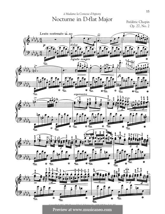Nocturnes, Op.27: No.2 in D Flat Major by Frédéric Chopin