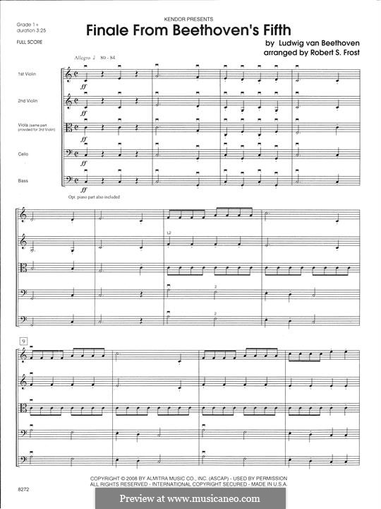 Movement IV: For strings – Full Score by Ludwig van Beethoven