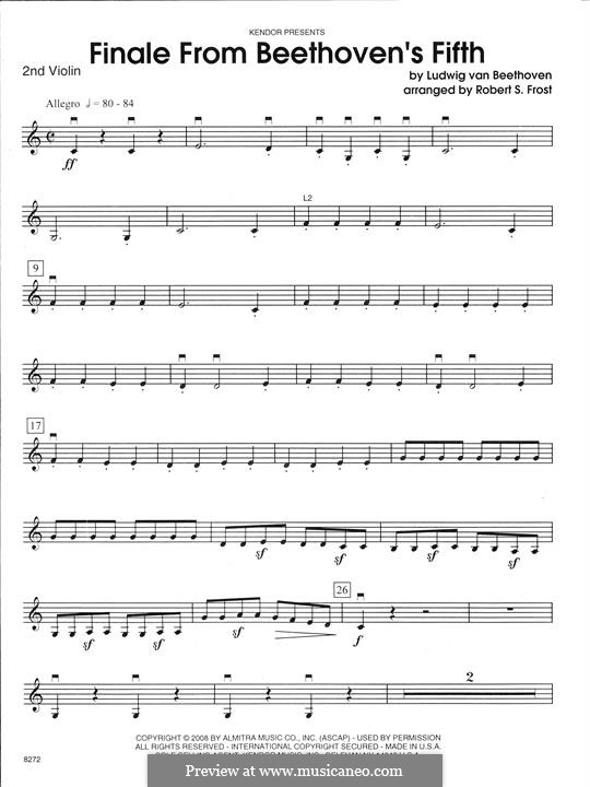 Movement IV: For strings – 2nd Violin part by Ludwig van Beethoven