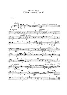 Concerto for Cello and Orchestra, Op.85: Oboes parts by Edward Elgar