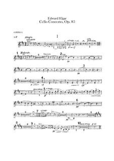 Concerto for Cello and Orchestra, Op.85: French horns parts by Edward Elgar