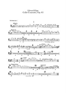 Concerto for Cello and Orchestra, Op.85: Trombones and tuba parts by Edward Elgar