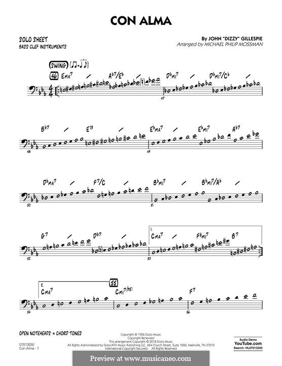Con Alma: Bass Clef Solo Sheet part by Dizzy Gillespie
