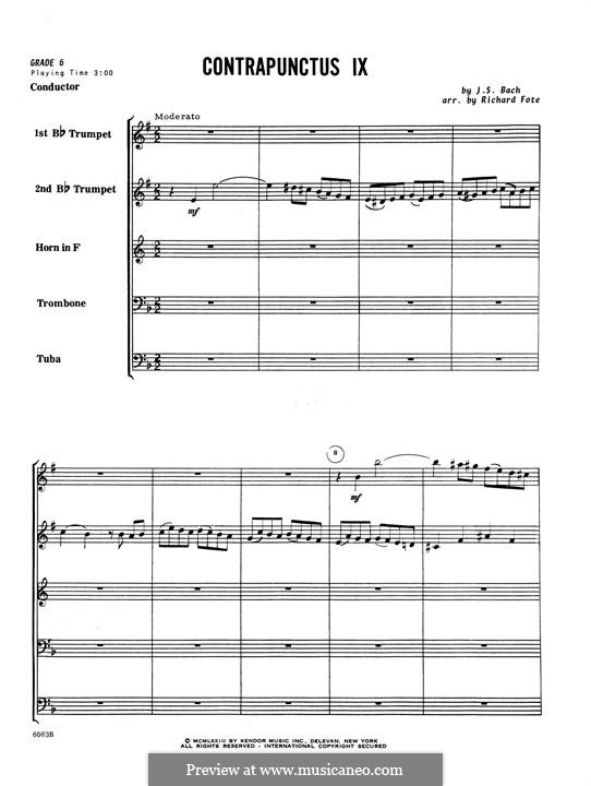 No.1-10: No.9, for winds – Full Score by Johann Sebastian Bach