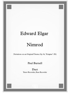 Variation No.9 'Nimrod': For duet: tenor and bass recorder - score and parts by Edward Elgar