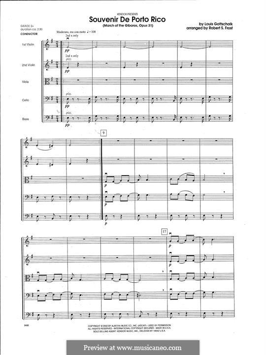 Souvenir de Porto Rico. Marche des Gibaros, Op.31: For strings – Full Score by Louis Moreau Gottschalk