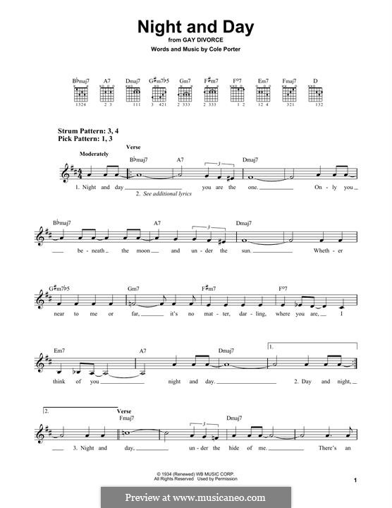 Night and Day (Frank Sinatra): For guitar by Cole Porter