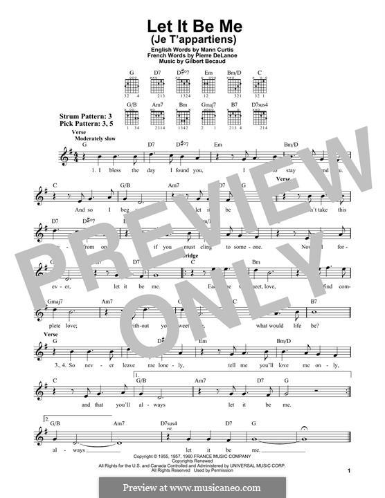 Let It Be Me (Je T'appartiens): For guitar by Gilbert Becaud, Manny Kurtz, Pierre Delanoe