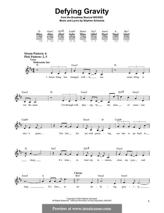 Defying Gravity (from the Broadway Musical Wicked): For guitar by Stephen Schwartz