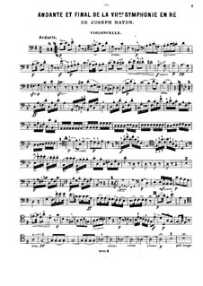 Symphony No.104 in D Major 'London', Hob.I/104: Movements II and IV, for violin, cello and piano – cello part by Joseph Haydn