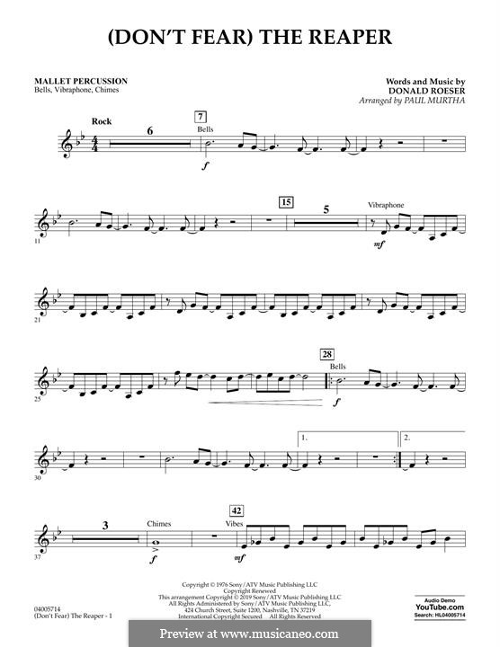 (Don't Fear) The Reaper (Concert Band version): Mallet Percussion part by Donald Roeser