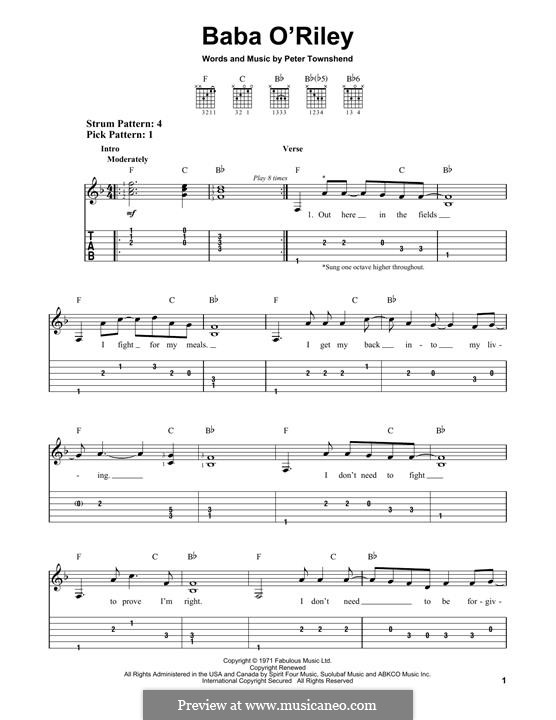 Baba O'Reilly (from Summer of Sam): For guitar by Peter Townshend