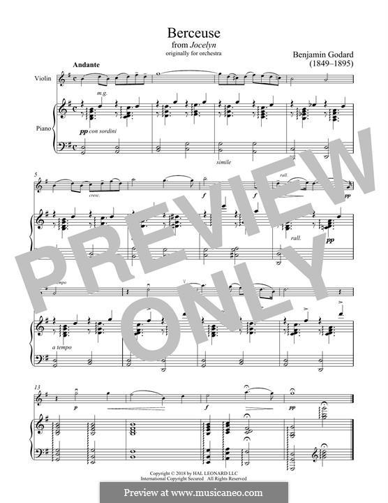 Berceuse: For violin and piano by Benjamin Godard