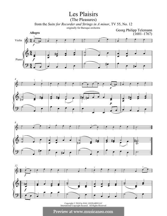 Les Plaisirs: Les Plaisirs by Georg Philipp Telemann