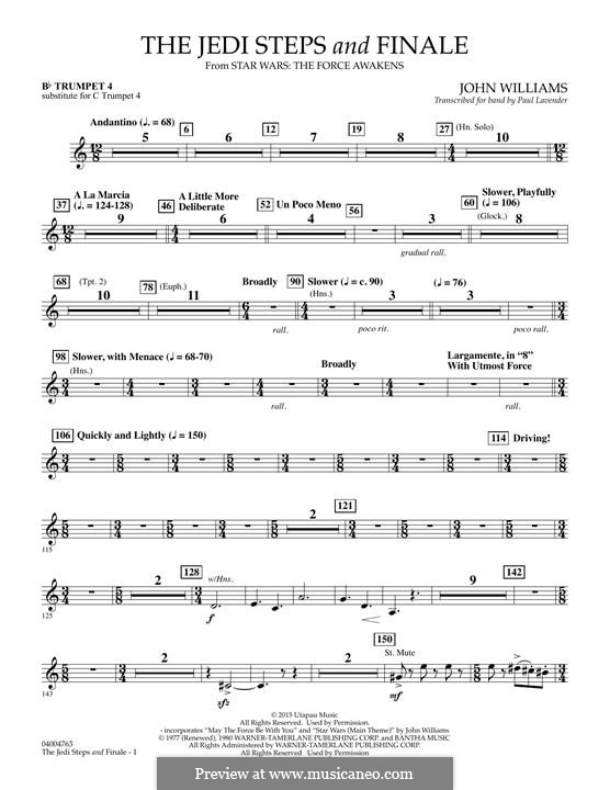 The Jedi Steps and Finale (from Star Wars: The Force Awakens): Bb Trumpet 4 (sub. C Tpt. 4) part by John Williams