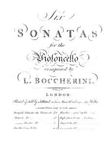 Sonata for Cello and Basso Continuo in G Major, G.5: Score by Luigi Boccherini
