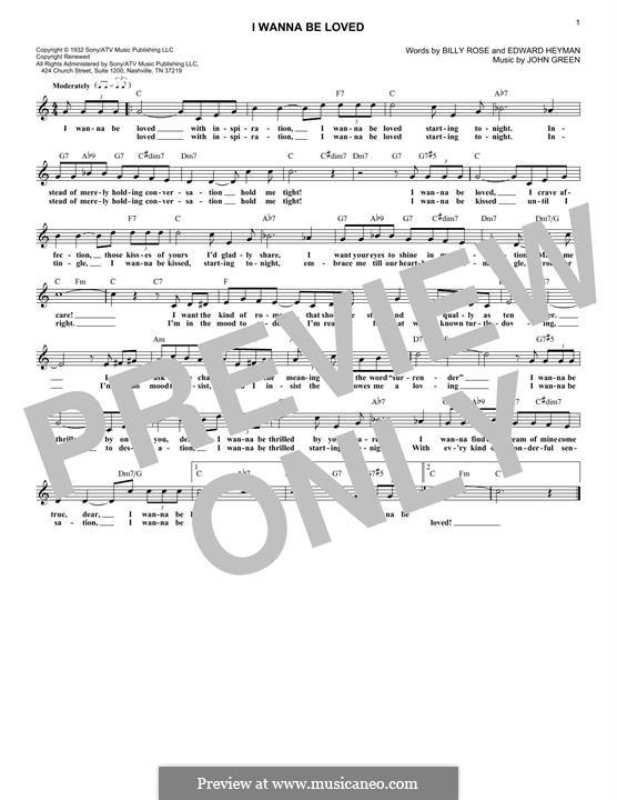 I Wanna Be Loved (Dinah Washington): For keyboard by John W. Green