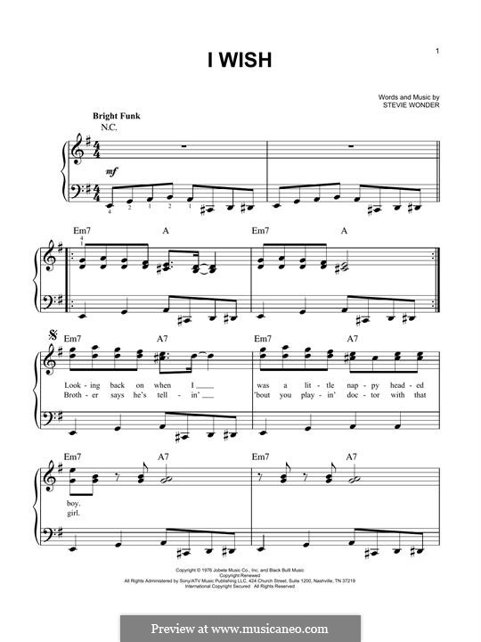 I Wish: For piano by Stevie Wonder