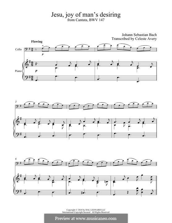 Jesu, Joy of Man's Desiring (Printable Scores): For cello and piano by Johann Sebastian Bach