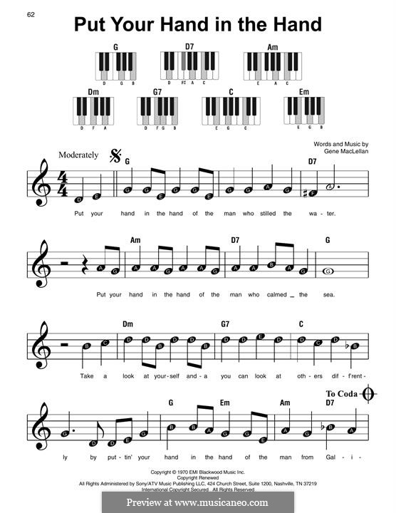 Put Your Hand in the Hand (Ocean): For easy piano by Gene MacLellan