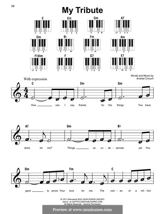 My Tribute: For piano by Andrae Crouch