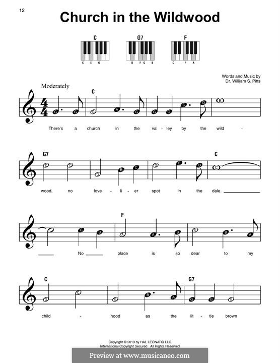 Church in the Wildwood: For piano by William S. Pitts