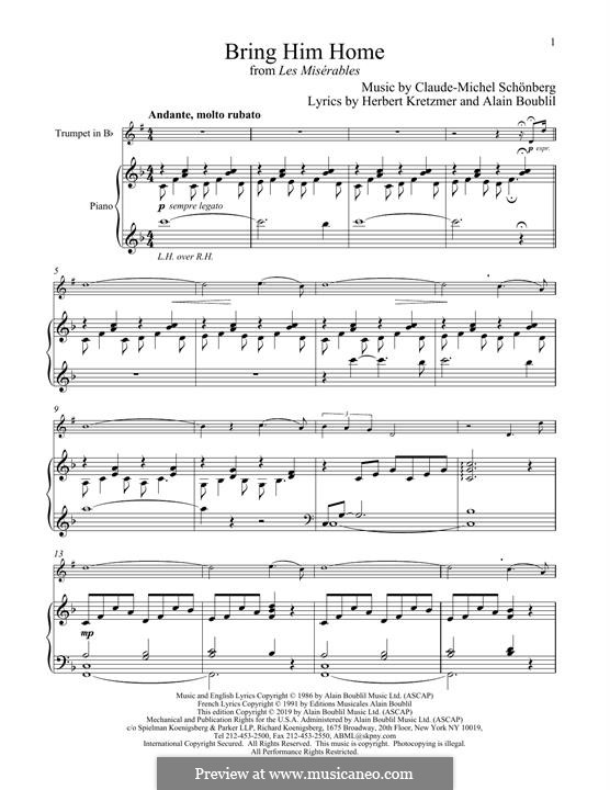 Bring Him Home: For trumpet and piano by Claude-Michel Schönberg