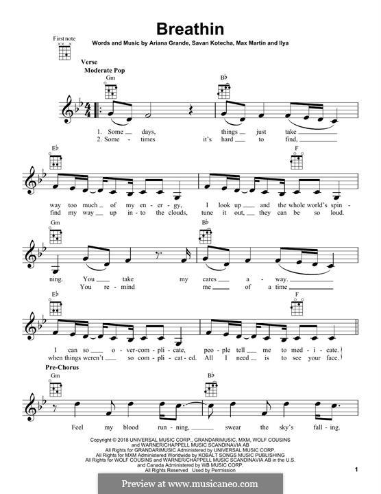 Breathin (Ariana Grande): For ukulele by Max Martin, Savan Kotecha, Ariana Grande, Ilya