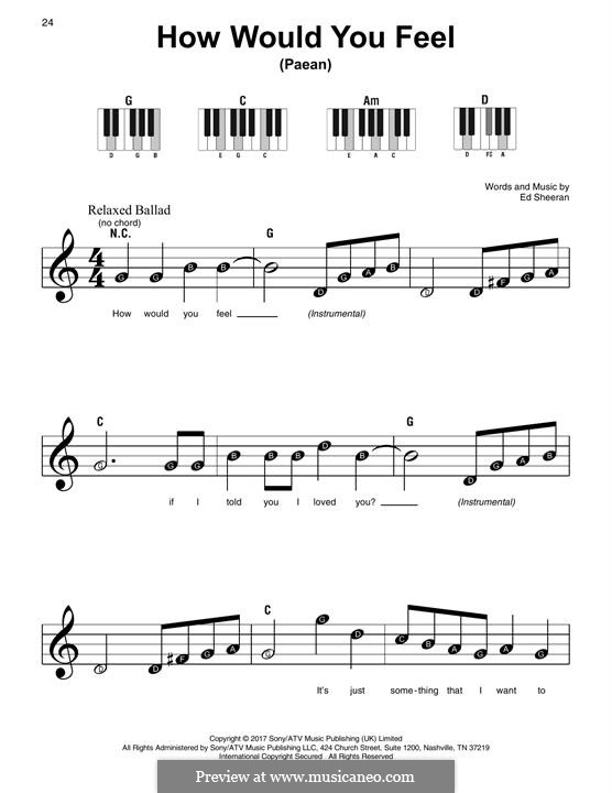How Would You Feel (Paean): For piano by Ed Sheeran
