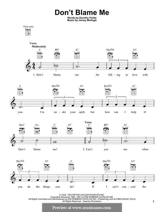 Don't Blame Me: For ukulele by Jimmy McHugh