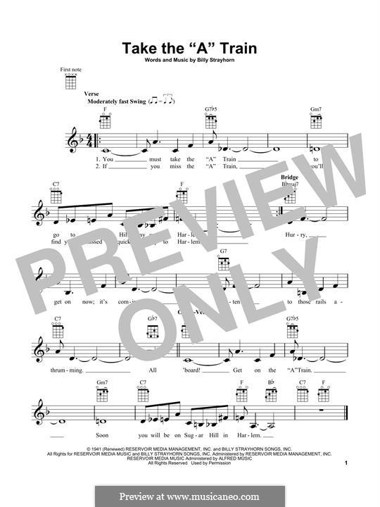 Take the 'A' Train (Duke Ellington): For ukulele by Billy Strayhorn