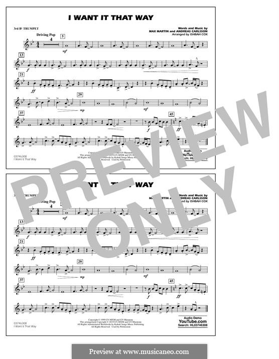 I Want It That Way (Backstreet Boys): 3rd Bb Trumpet part by Andreas Carlsson, Max Martin