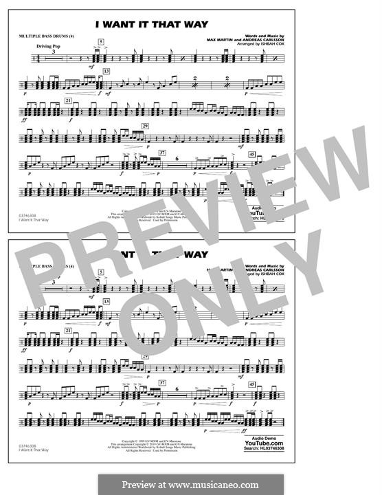 I Want It That Way (Backstreet Boys): Multiple Bass Drums part by Andreas Carlsson, Max Martin