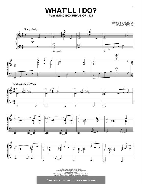 What'll I Do? (from Music Box Revue of 1924): For piano by Irving Berlin